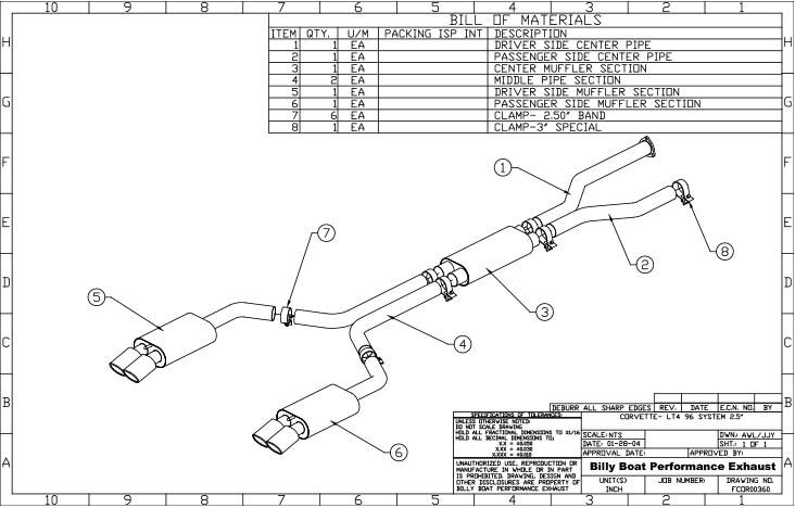 chevy c4 corvette lt4 cat back exhaust system 2 1  2 u0026quot   oval