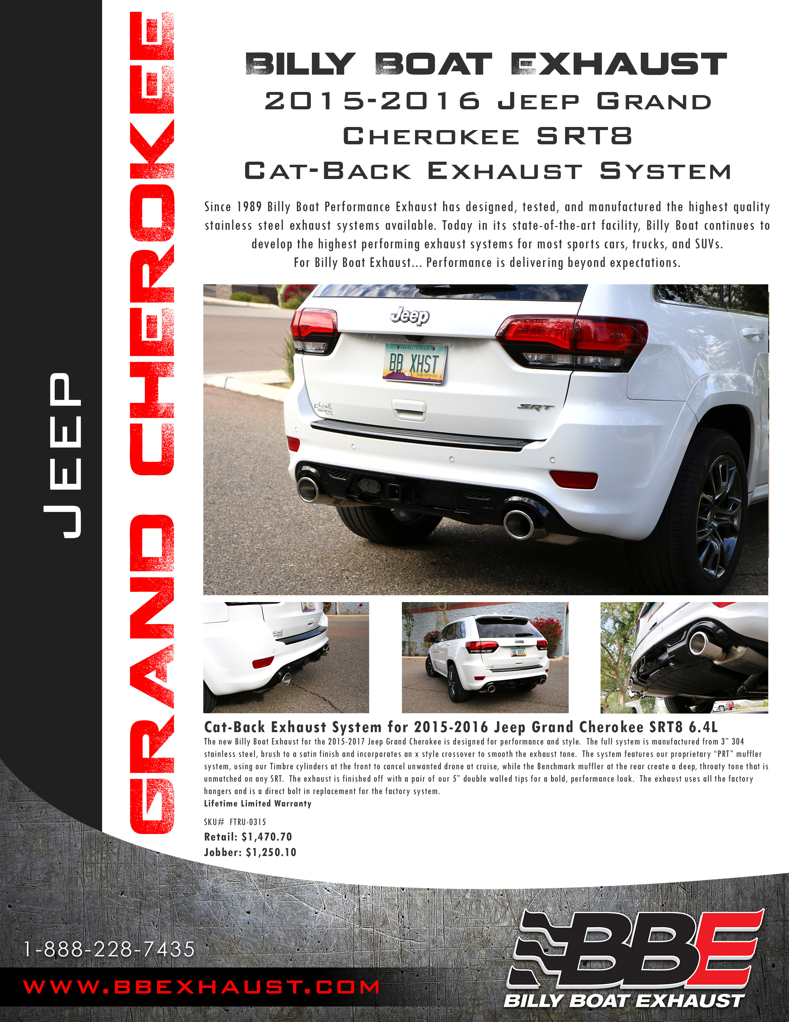 The New Billy Boat Exhaust For The 2015 2017 Jeep Grand Cherokee Is  Designed For Performance And Style. The Full System Is Manufactured From 3u201d  304 ...